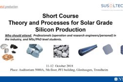 Theory and processes for solar grade silicon production – Intensive course